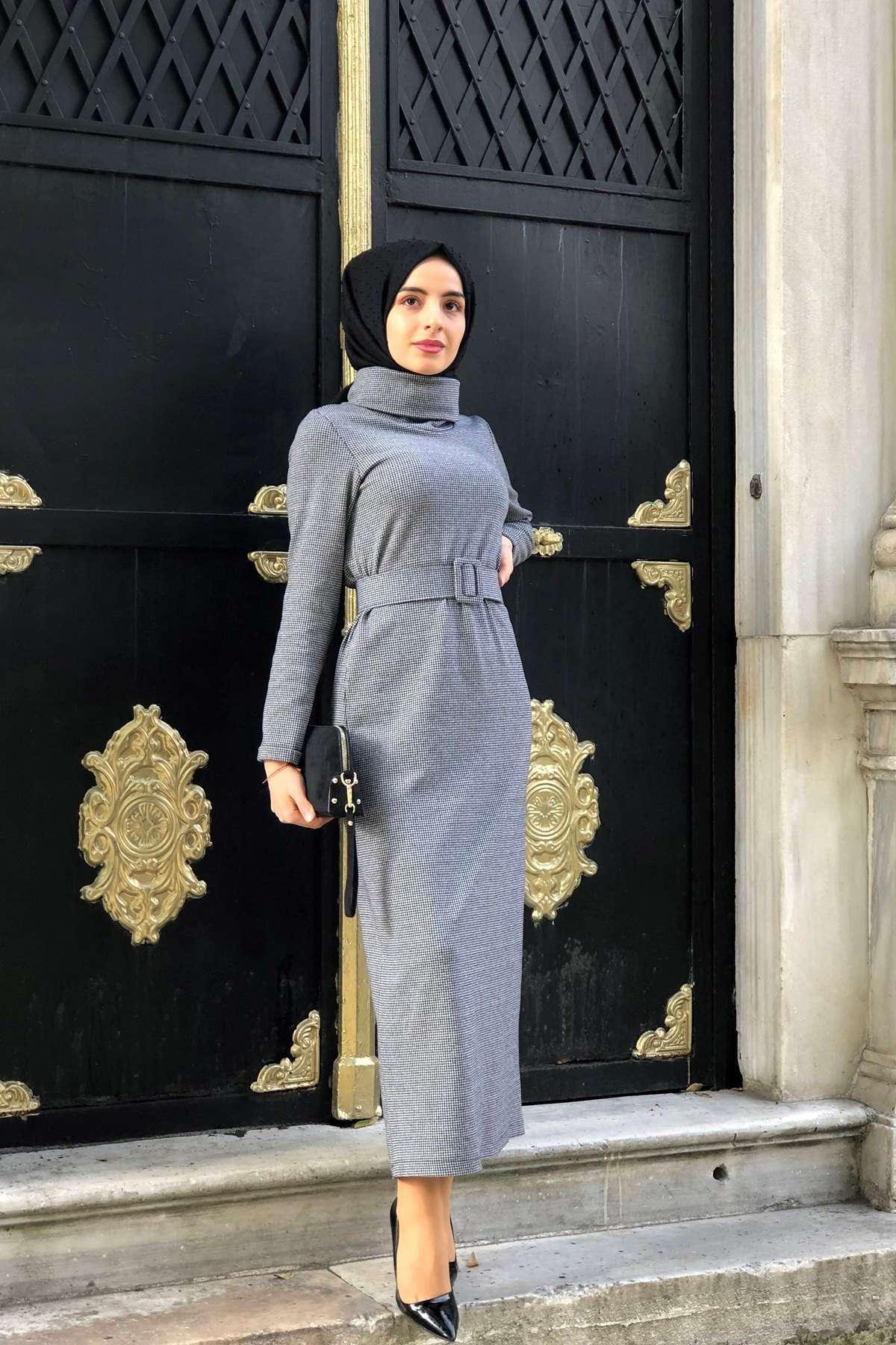 Boğazlı Kemerli Elbise  - GRİ