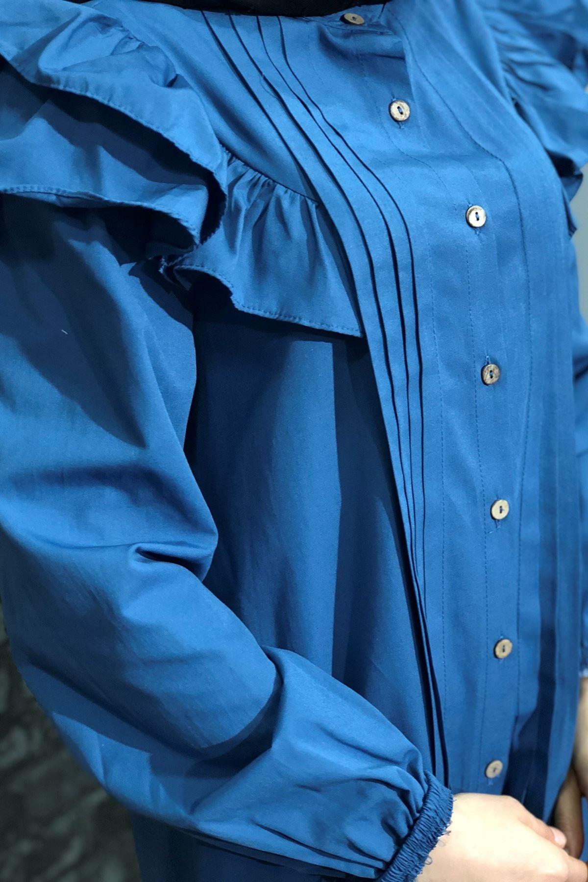 Yandan Fırfır Detaylı Tunik Gömlek - İNDİGO