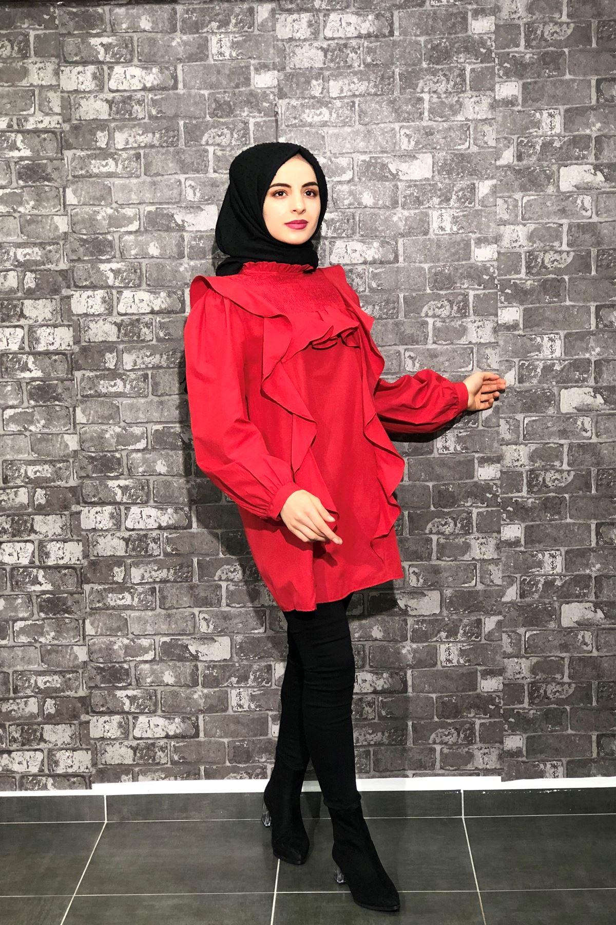 Balon Kol Gipeli Tunik Gömlek - KIRMIZI