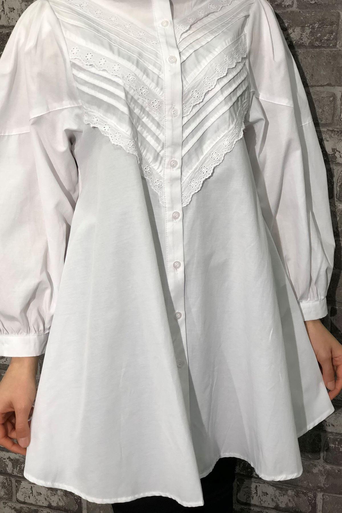 Balon Kol Dantel Detaylı Gömlek - Beyaz