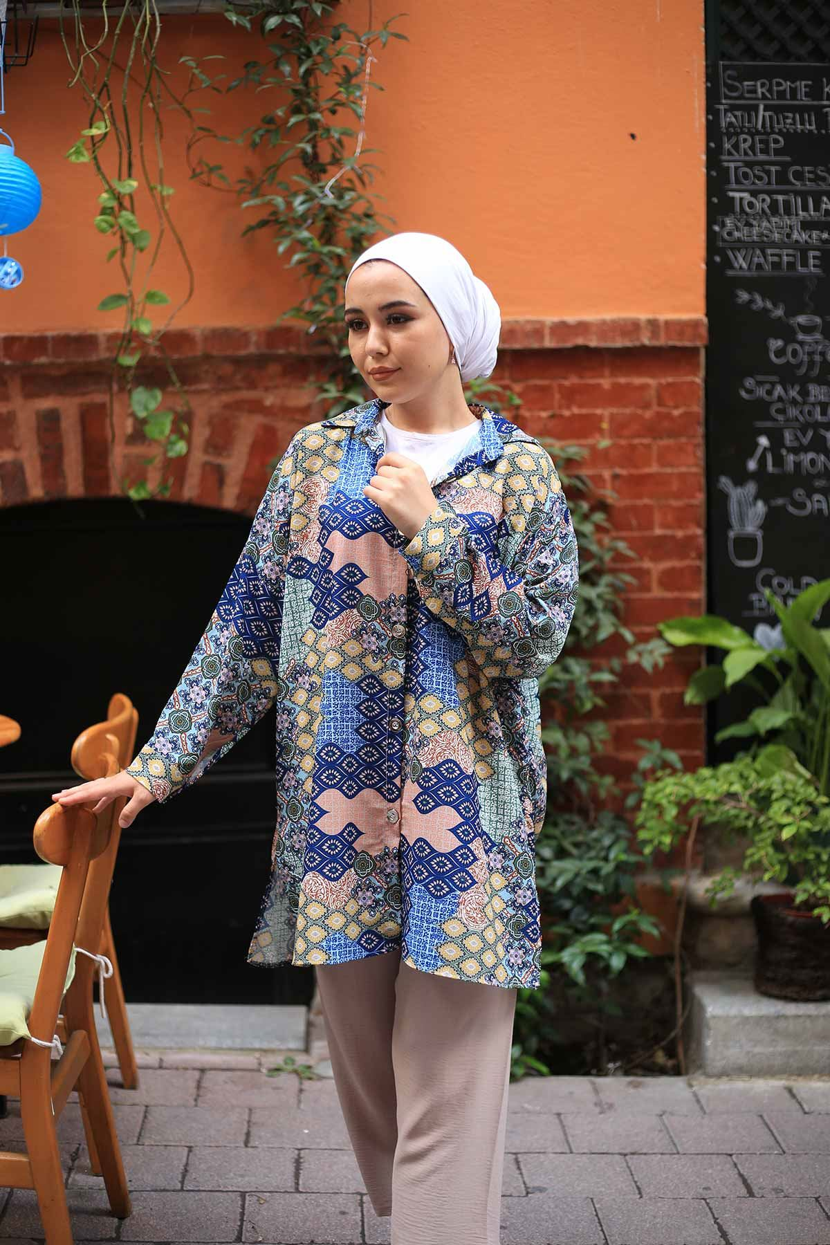 Karaca Desen Tunik Gömlek - İndigo