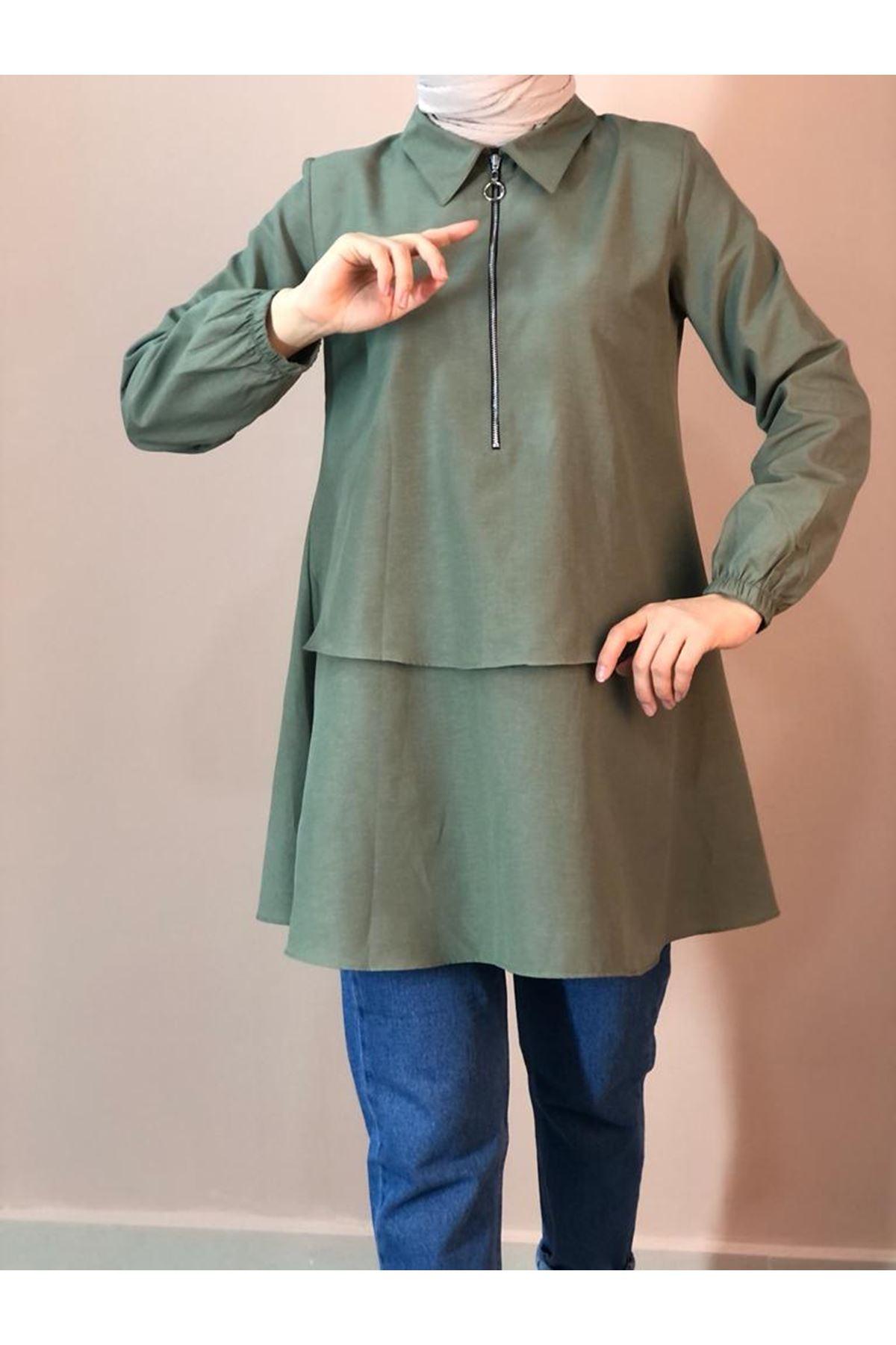 Fermuarlı Mevlana Gömlek - Çağla Rengi