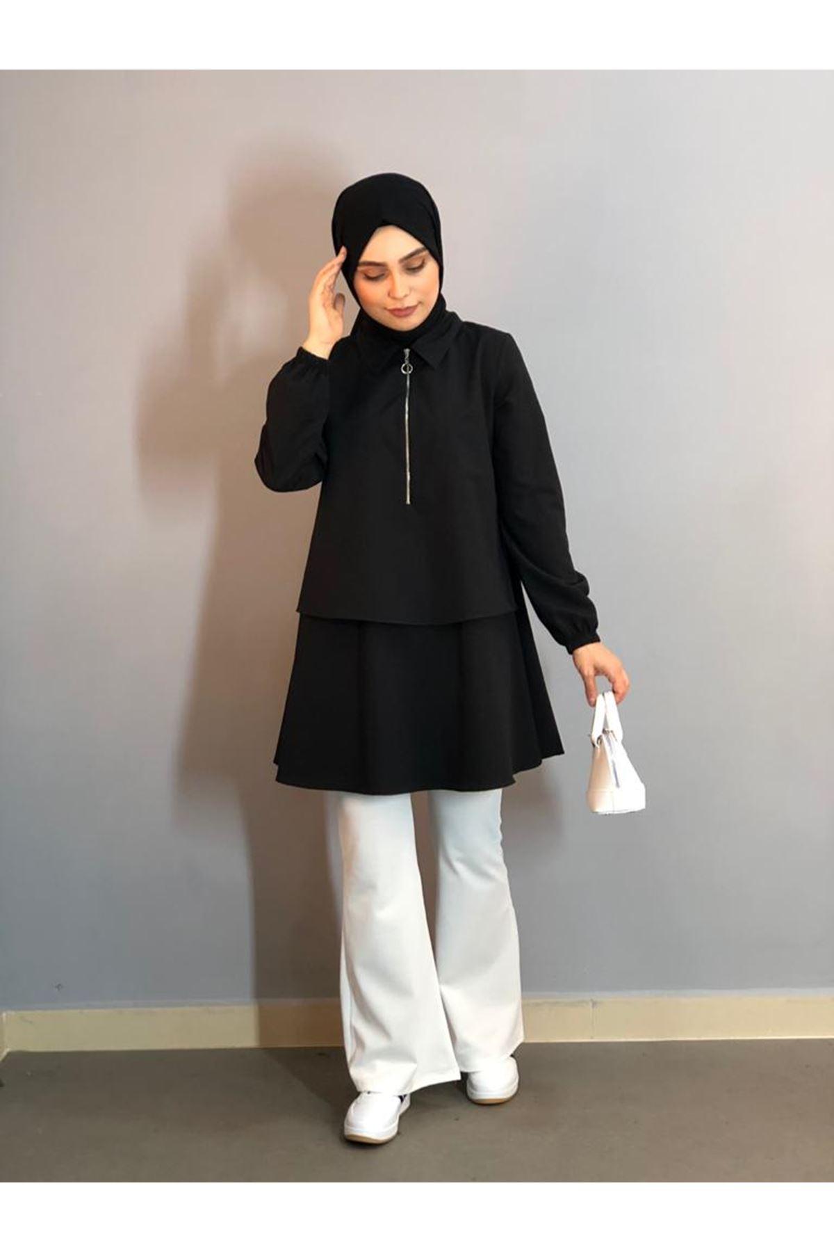 Fermuarlı Mevlana Gömlek -Siyah