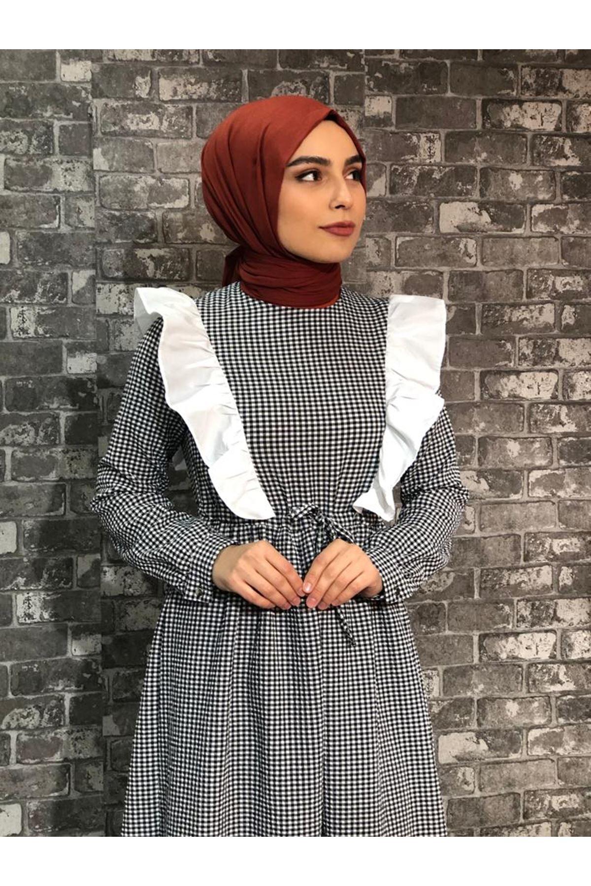 Fırfırlı Pötikare Elbise- Siyah