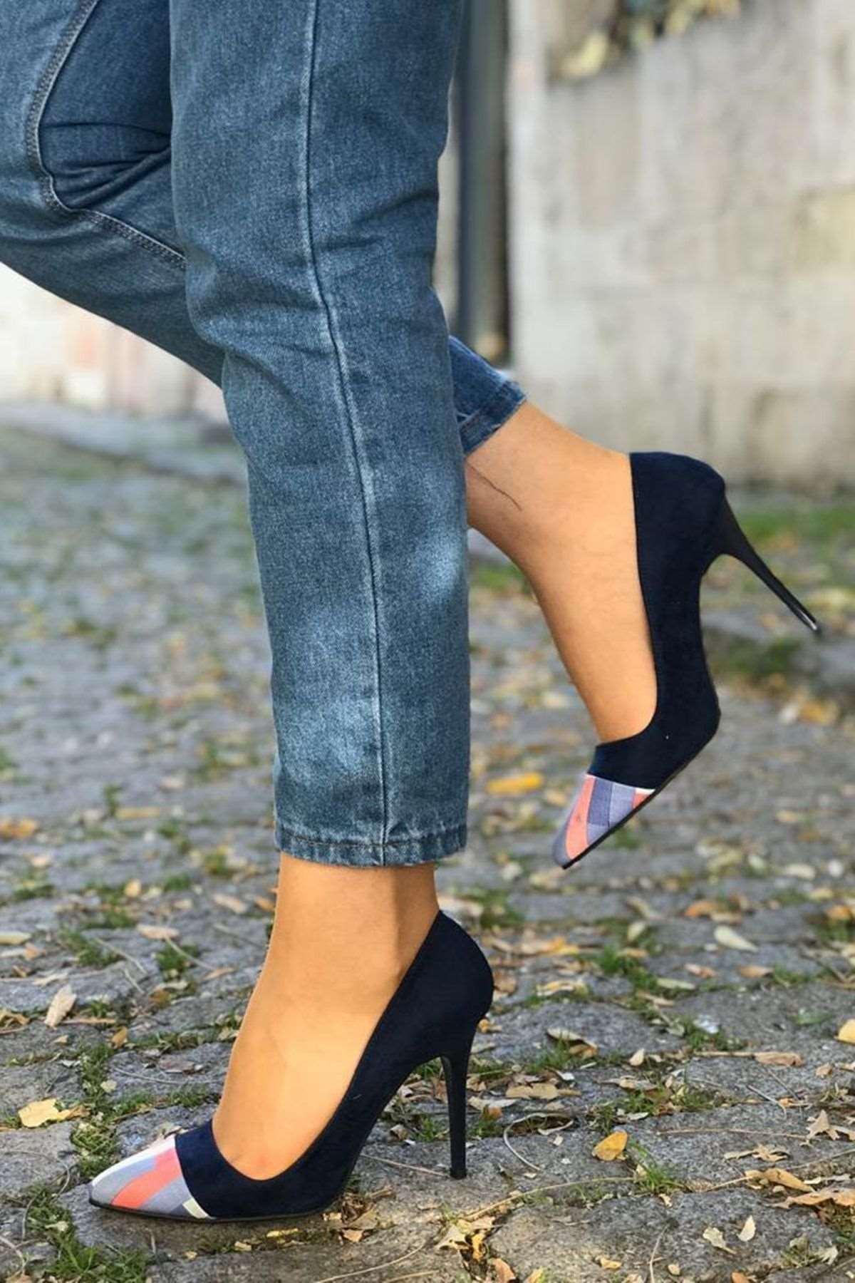 Gökkuşağı Detaylı Stiletto Ayakkabı