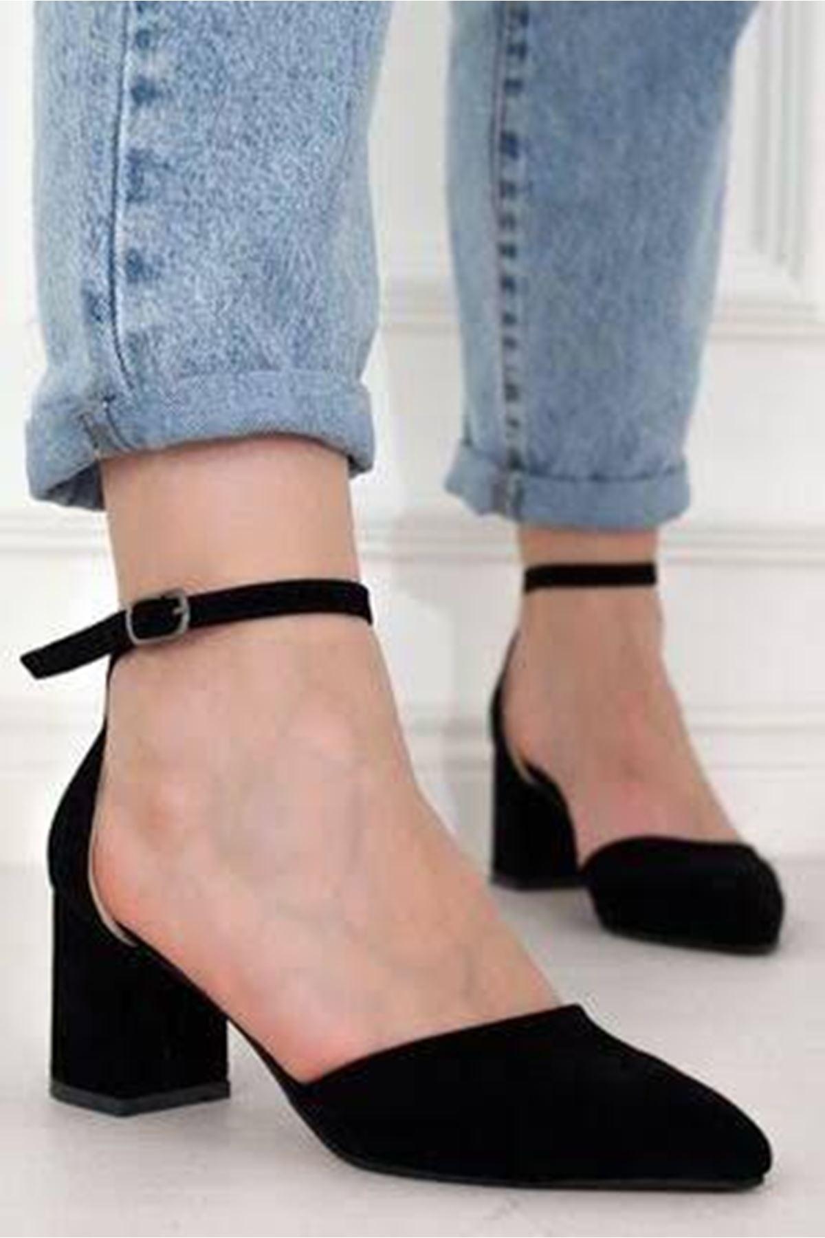Kalın Topuklu Stiletto Ayakkabı - Siyah