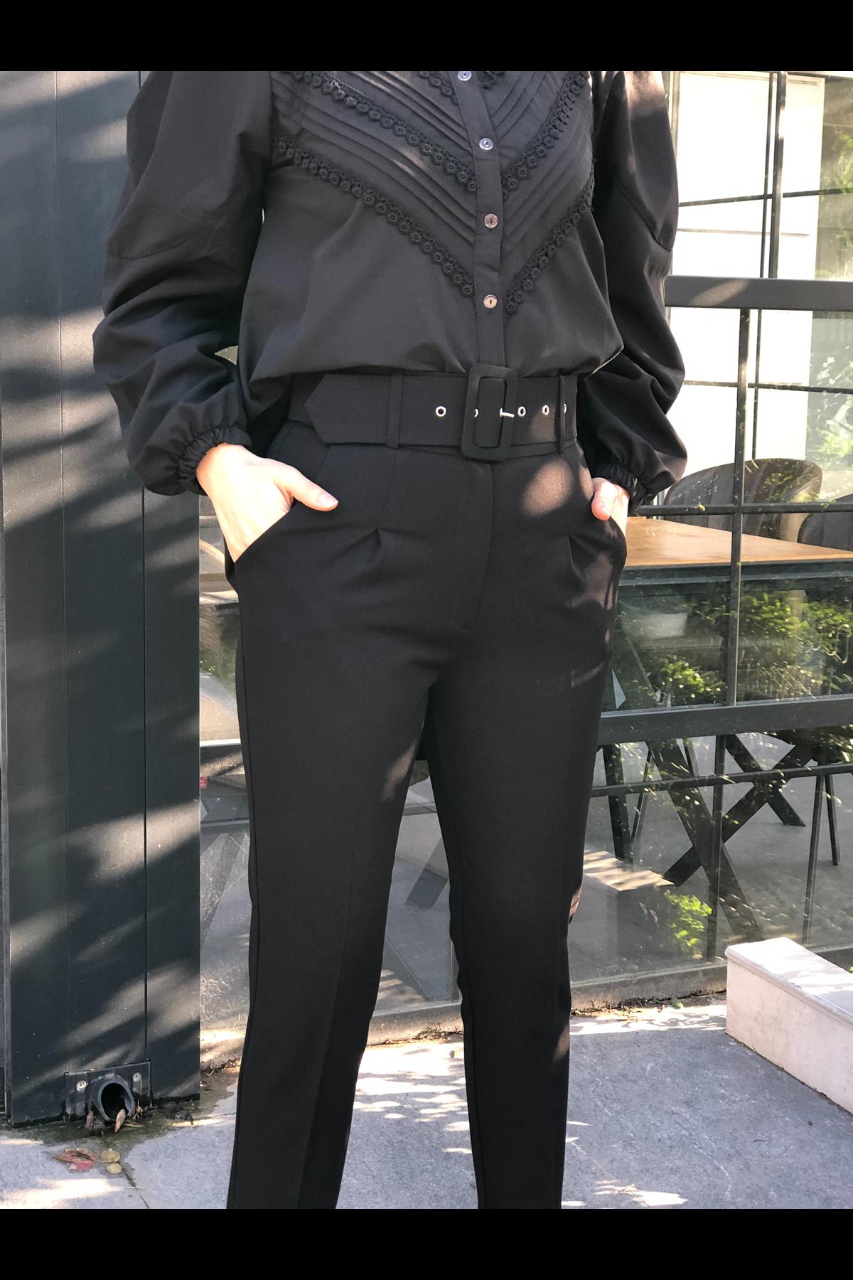 Kemerli Keten Pantolon- SİYAH