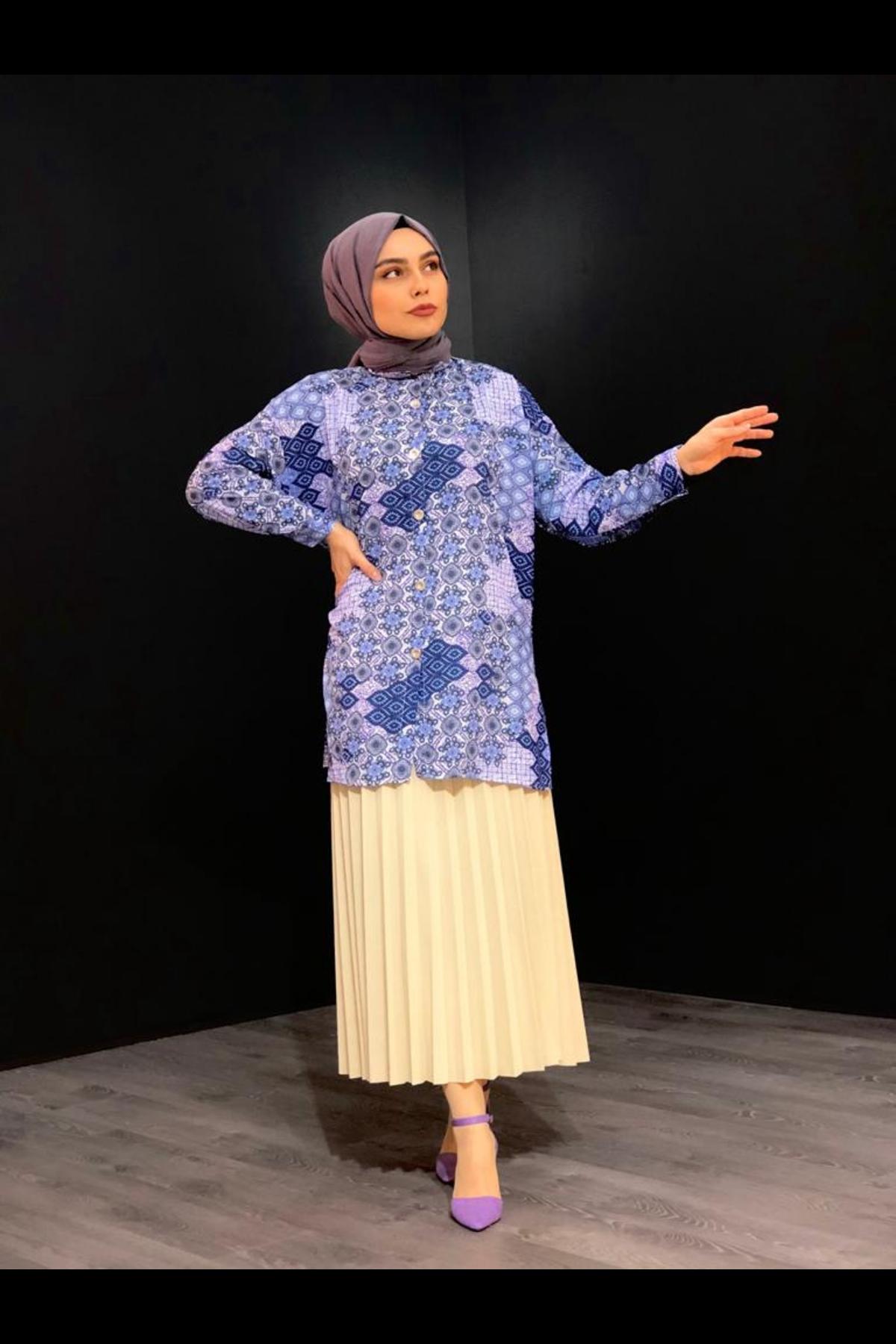 Rabia Desen Tunik Gömlek -Lila