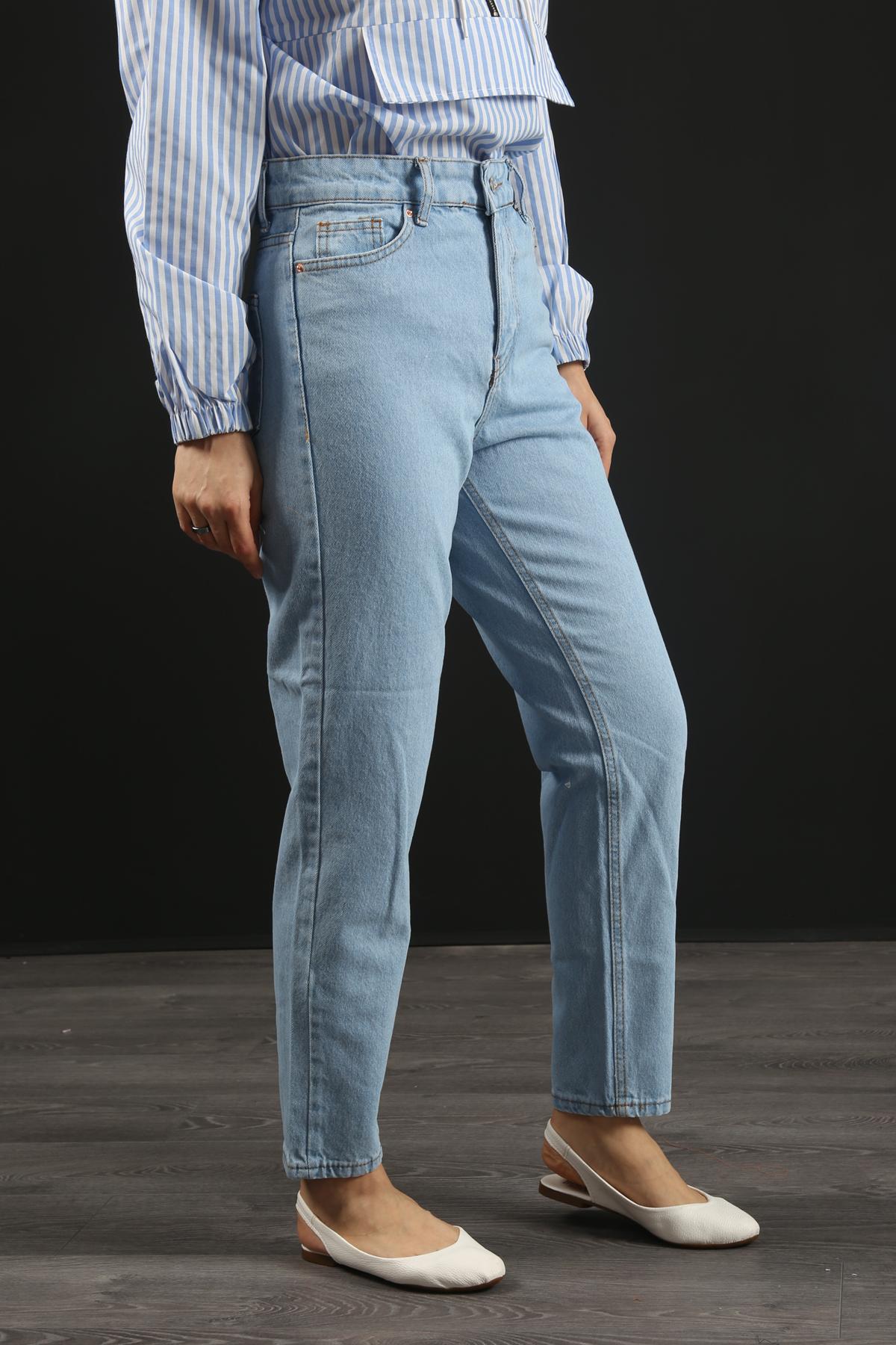 Yüksek Bel Mom Jeans- Açık Mavi