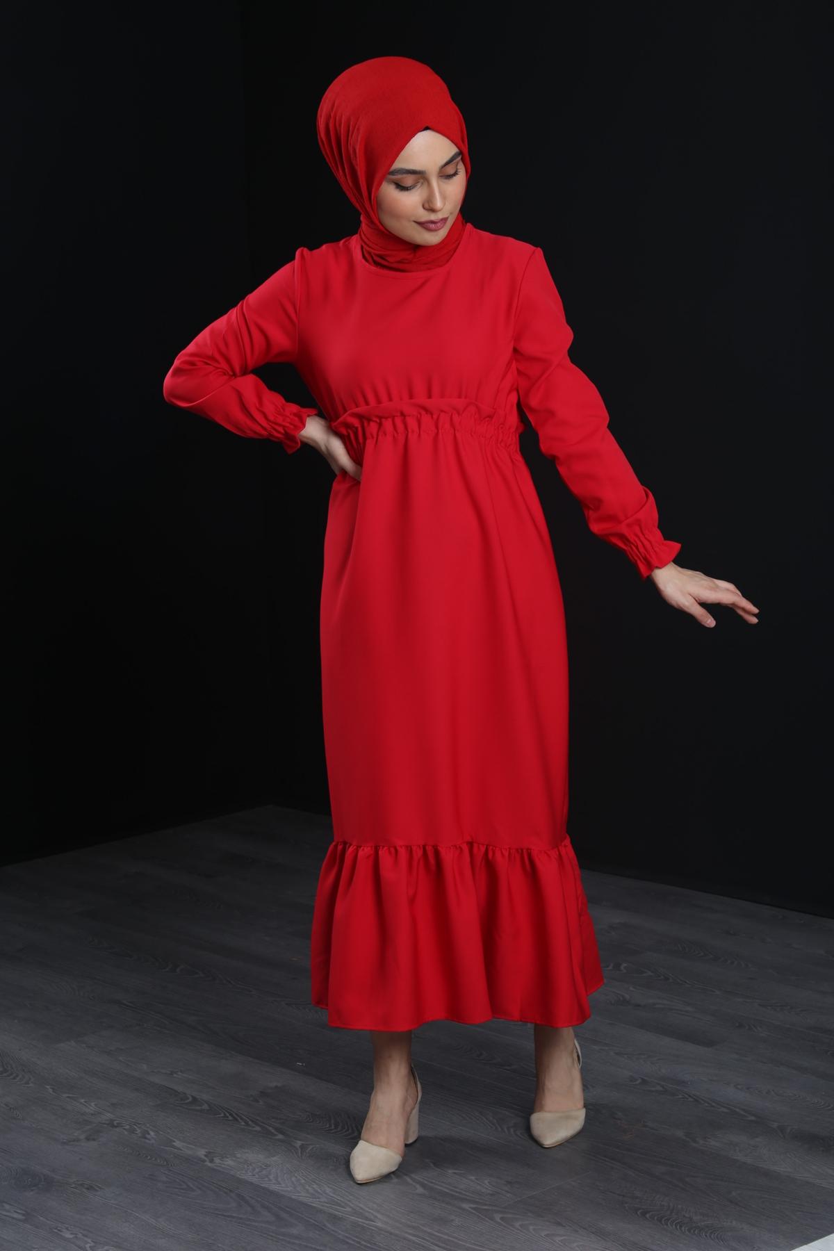Erva Tesettür Elbise - KIRMIZI