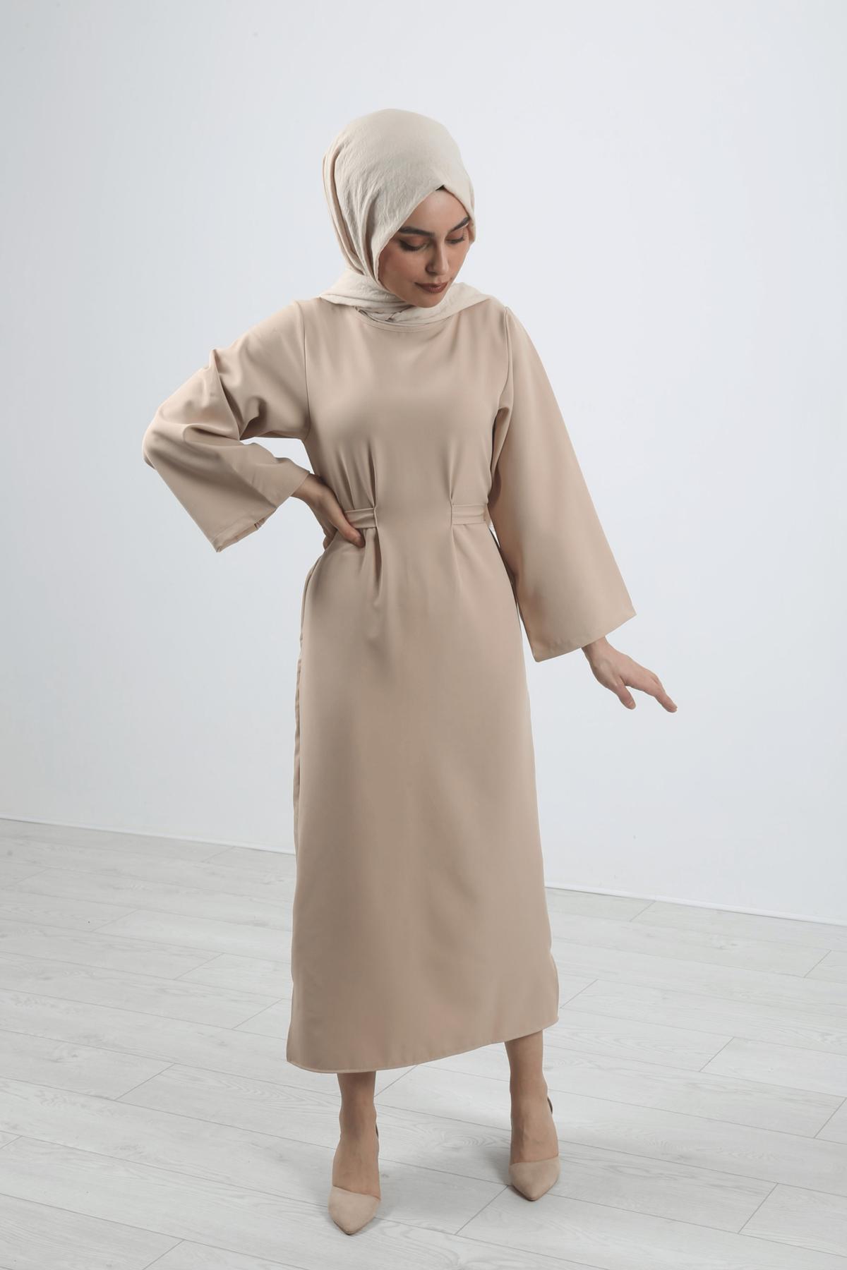 Bel Bağlamalı Kalem Elbise - Taş