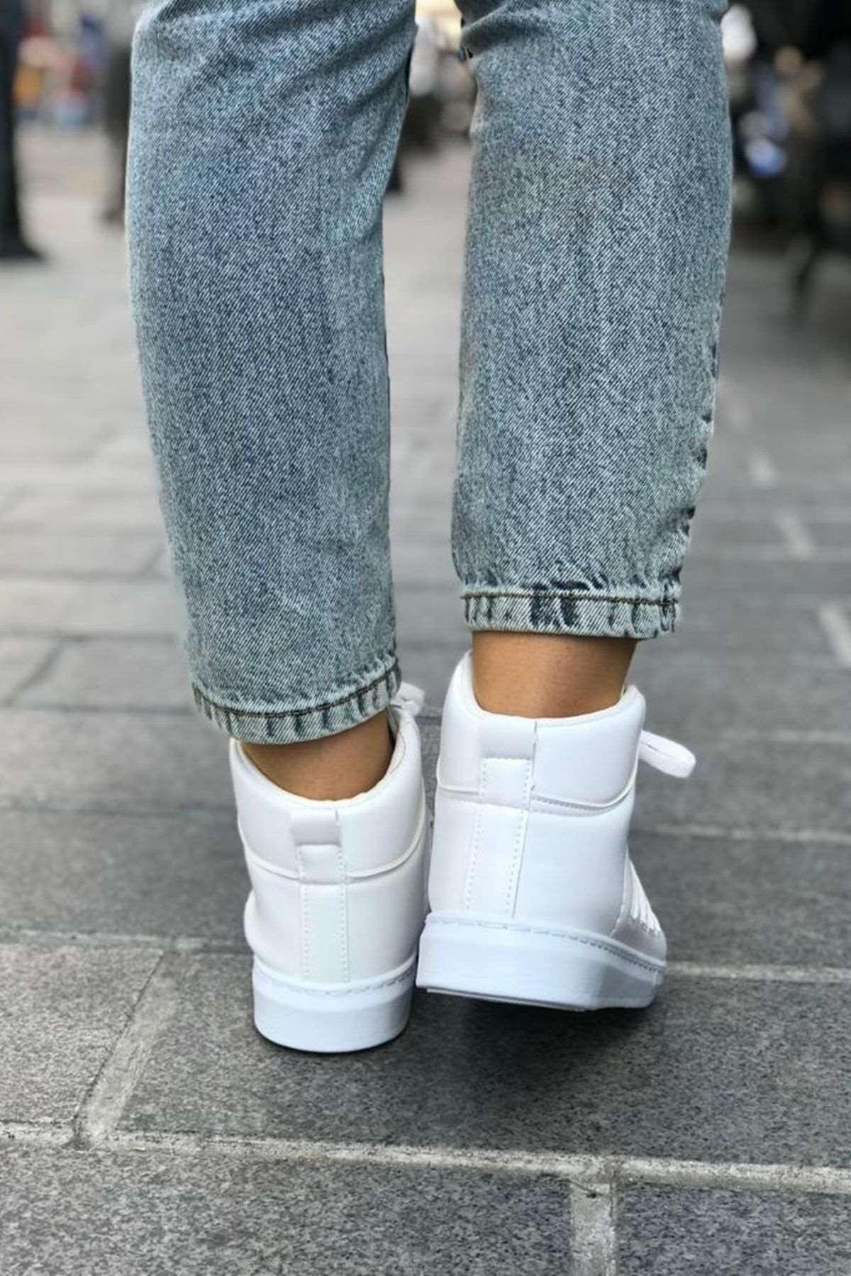 Şerit Detaylı Spor Ayakkabı -  BEYAZ