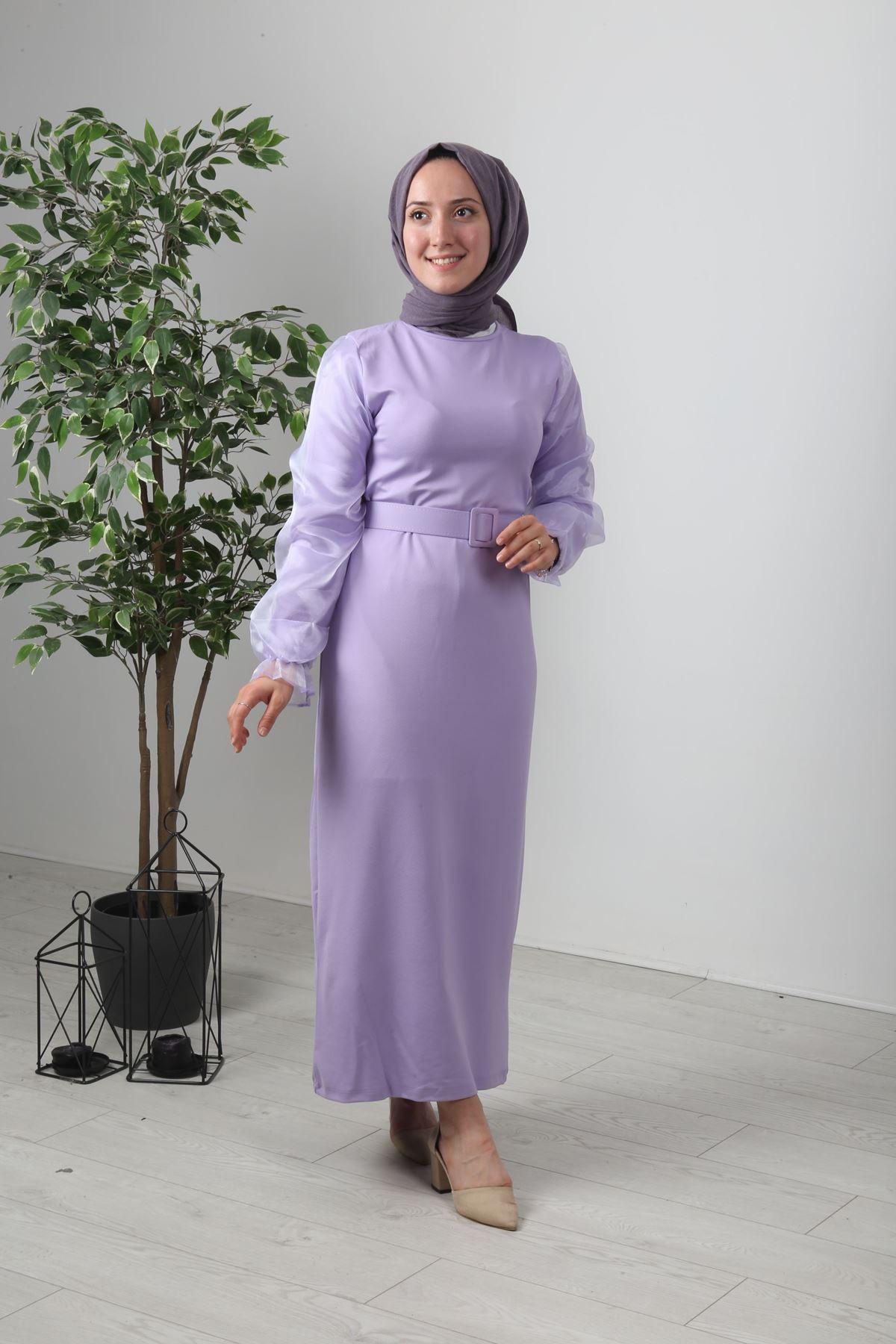 Organze Kol Tül Tesettür Elbise - Lila
