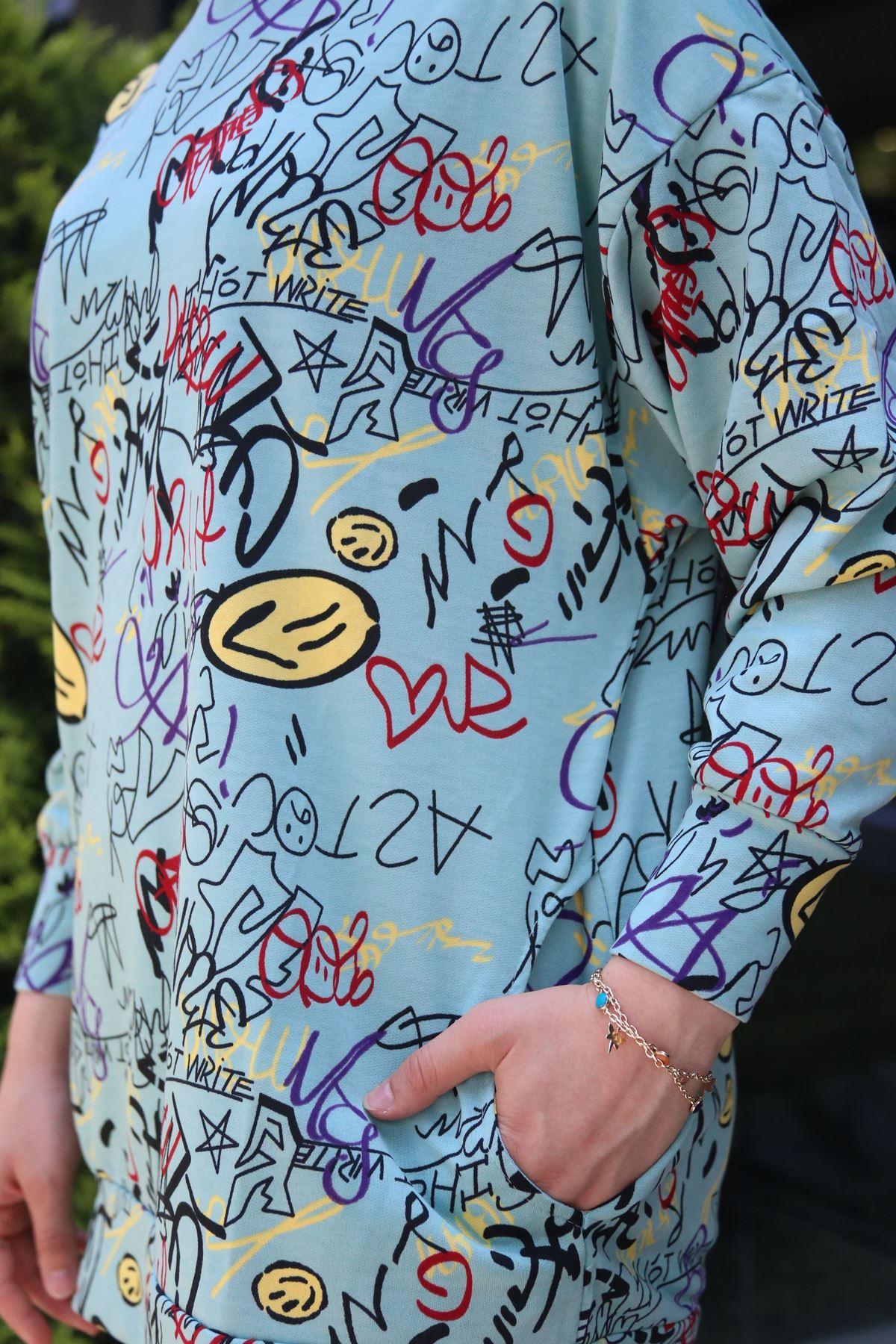 Smile Baskılı Kapşonlu Sweatshirt - Mint